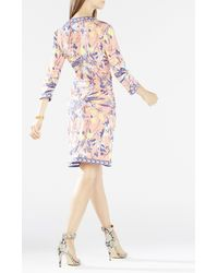 BCBGMAXAZRIA Blue Adele Printed Wrap Dress