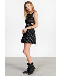 Ecote - Black Cutout Fit + Flare Linen Dress - Lyst