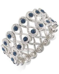 Carolee - Silver-tone Blue And Clear Crystal Wide Stretch Bracelet - Lyst