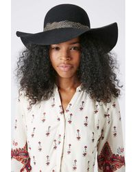 TOPSHOP Black Feather Band Floppy Hat