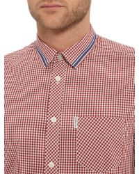Ben Sherman - Red Tipped Collar Gingham Long Sleeve Shirt for Men - Lyst