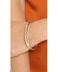 House of Harlow 1960 Metallic Outland Split Bangle Bracelet - Gold/clear