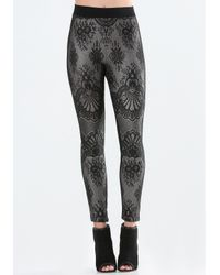 Bebe | Black Bonded Lace Leggings | Lyst