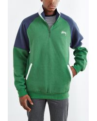 Stussy | Green Half-zip Funnel Neck Sweatshirt for Men | Lyst