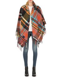 Vivienne Westwood Anglomania | Mantero Checked Poncho, Women's, Red | Lyst