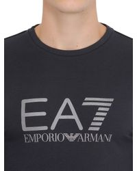 EA7 | Gray Logo Cotton Jersey Long Sleeve T-shirt for Men | Lyst