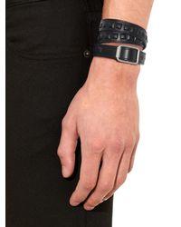 Balenciaga | Black Wraparound Leather Bracelet for Men | Lyst