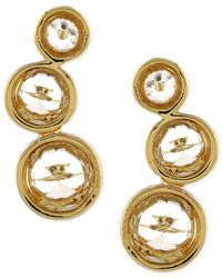 Vince Camuto | Metallic Gold-tone Crystal Circle Stud Earrings | Lyst