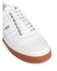 Neil Barrett White 'city Basket' Low Top Leather Sneakers for men