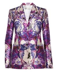 Prabal Gurung Multicolor Floral-Print Wool And Silk-Blend Blazer