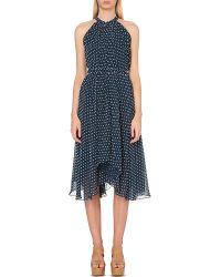 Saloni - Blue Iris Halterneck Chiffon Dress - For Women - Lyst