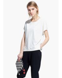 Mango White Side Slit T-Shirt