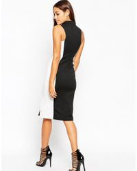 ASOS Black High Neck Pencil Dress In Colour Block