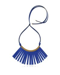 Marni | Blue Fringe Leather Choker | Lyst