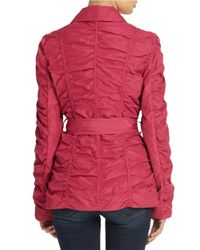 Betsey Johnson   Pink Crinkle Zip Front Jacket   Lyst