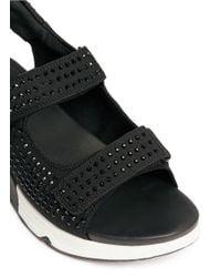 Ash | Black 'lullaby' Crystal Neoprene Strap Sandals | Lyst