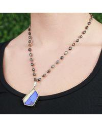 Monique Péan Blue Boulder Opal Pendant And Diamond Bead Necklace