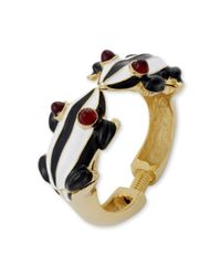 Kenneth Jay Lane | Metallic Black And White Stripes Frog Bracelet | Lyst