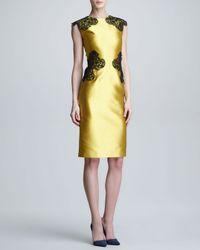 Lela Rose Metallic Placed Lace Satin Sheath Dress