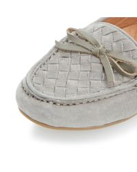 Dune - Gray Glorius Woven Suede Driver Loafers - Lyst