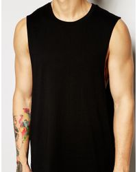 ASOS Black Sleeveless T-shirt With Dropped Armhole for men