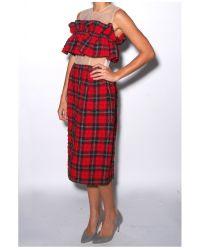 Simone Rocha Red Tartan Seersucker Bandea Ruffle Dress
