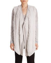 Vince | Gray Draped Wool & Rabbit Fur Vest | Lyst