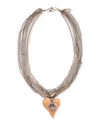 Irit Design - Multicolor Hammered Pink Gold Heart Necklace with Diamond Crown - Lyst