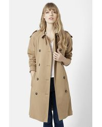 TOPSHOP | Natural Double Breasted Cotton Trench | Lyst