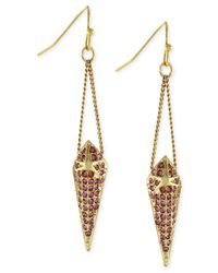 BCBGeneration | Pink Crystal Pavé Spike Drop Earrings | Lyst