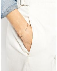 ASOS | Metallic Rose Gold Plated Sterling Silver Fine Crystal Open Bangle Bracelet | Lyst