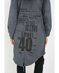 Forever 21 Gray Contemporary Longline Fishtail Parka You've Been Added To The Waitlist