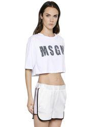 MSGM White Cropped Logo Printed Cotton T-Shirt