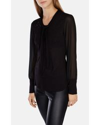 Karen Millen Black Crystal Embellished Tie-neck Top
