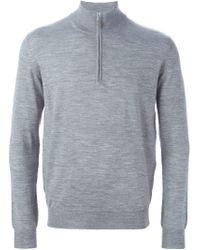 Della Ciana - Gray Zipped Funnel Neck Sweater for Men - Lyst