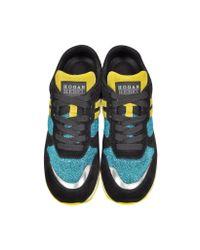 Hogan Rebel Blue Turquoise Lurex Sneaker W/leopard Haircalf Detail