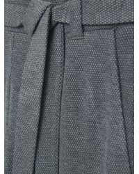 Mango - Gray Textured Baggy Trousers - Lyst