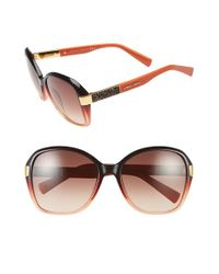 Jimmy Choo | Brown 57mm Butterfly Sunglasses - Petroleum | Lyst