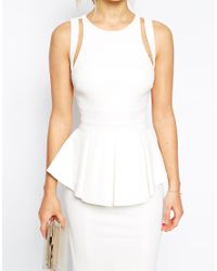 Forever Unique | White Structured Peplum Pencil Dress With Multi Strap Back | Lyst