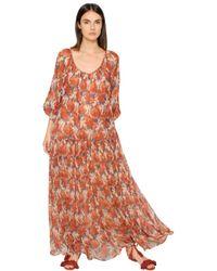 Mes Demoiselles - Red Vera Printed Crinkled Viscose Dress - Lyst
