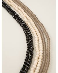 Brunello Cucinelli - Black Tricolour Beaded Necklace - Lyst
