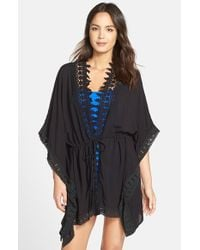 La Blanca | Black 'Costa Brava' Crochet Trim Kimono Sleeve Cover-Up | Lyst