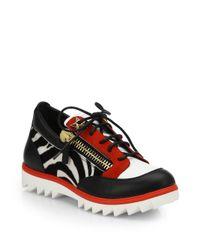 Giuseppe Zanotti | Black Mixed Media Laceup Sneakers | Lyst