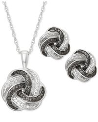 Macy's | Metallic Black And White Diamond Accent Love Knot Jewelry Set In Sterling Silver | Lyst