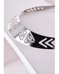 Missguided - Metallic Aztec Cut Out Collar Necklace Silver - Lyst