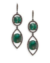 Bavna | Green Emerald, Champagne Diamond & Sterling Silver Double Drop Earrings | Lyst