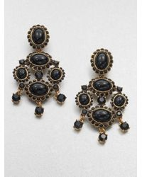 Oscar de la Renta | Black Gold-plated Crystal Clip Earrings | Lyst