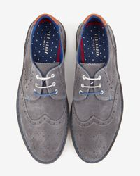 Ted Baker - Gray Suede Derby Brogues for Men - Lyst