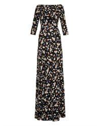 Erdem | Black Valentina Floral-Print Gown | Lyst