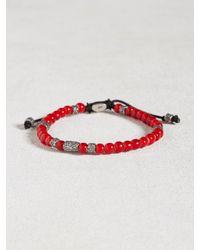 John Varvatos Red African Glass Beaded Bracelet for men